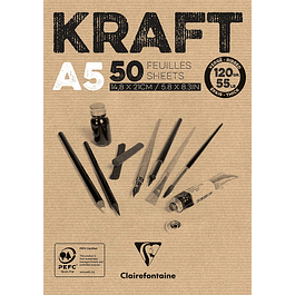 Block Kraft pegado 50 hojas A5 120g.