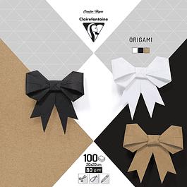 Paquete de papel Origami, 80 g, 20x20 cm - colores naturales surtidos, 100 hojas