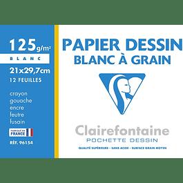 Clairefontaine 21 x 29.7 cm Papel de dibujo granulado, 125 g, 12 hojas