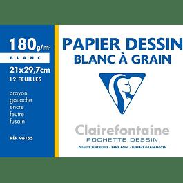 Clairefontaine 21 x 29.7 cm Papel de dibujo granulado, 180 g, 12 hojas