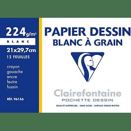 Clairefontaine 21 x 29.7 cm Papel de dibujo granulado, 224 g, 12 hojas