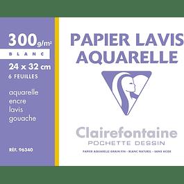 Clairefontaine 24 x 32 cm papel de dibujo de lavado, 300 g, 6 hojas