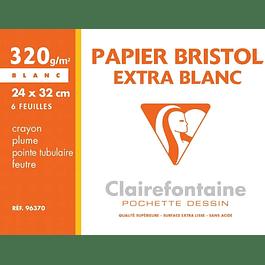 Clairefontaine 24 x 32 cm Bristol Pad, 320 g, 6 hojas