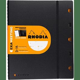 Cuaderno Rhodia ExaMeeting con espiral 5x5, 160 páginas, A5+, Negro