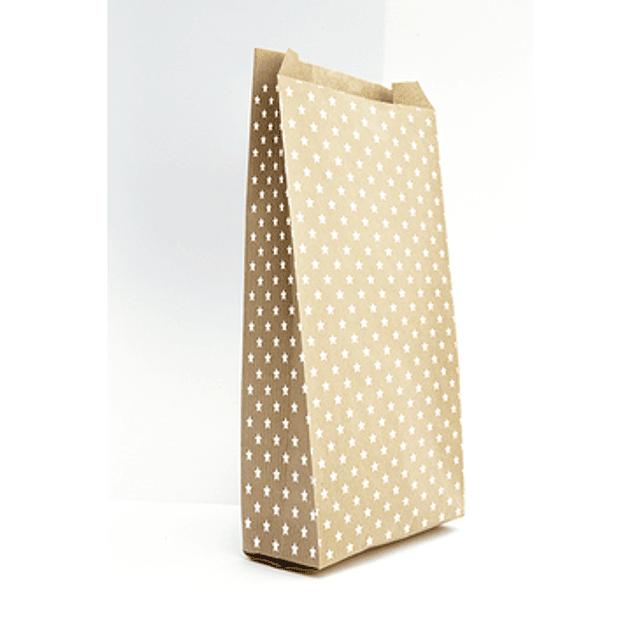 Bolsita de papel kraft, 15x31 + 6cm, estrellas