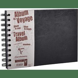 Clairefontaine A5 Travel Album Bag, forrado, 80 páginas, negro