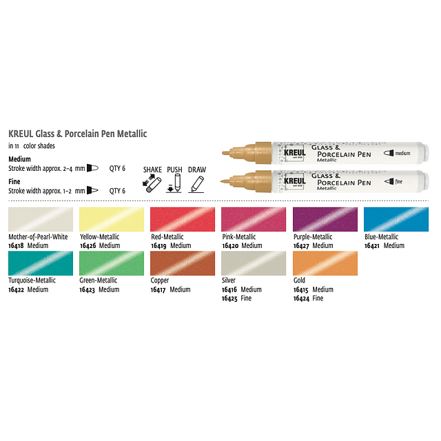"""Marcador vidrio y porcelana """"Metálico"""" (11 Colores)"""