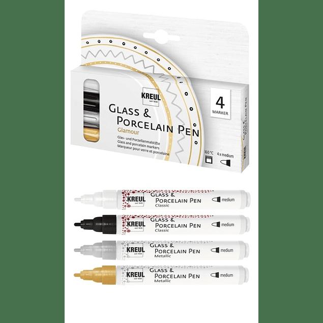 Set de 4 - KREUL Glass & Porcelain Pen Glamour