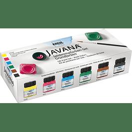 Pintura para tela KREUL Javana, set colores básicos 6 tarros de 20 ml cada uno