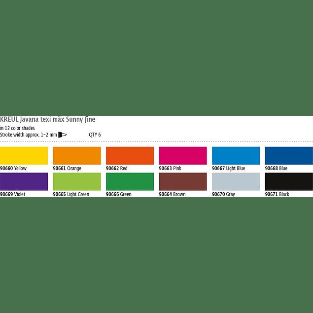 Set de 6 Marcadores KREUL Javana texi mäx Sunny 2mm