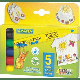KREUL Javana texi mäx Sunny mediano, juego de 5. Colores Suaves 2-4 mm