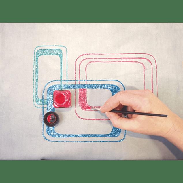 KREUL Javana Pintura para tela con acabado Glitter, Conjunto - Colores básicos 6 tarros de 20 ml cada uno