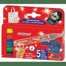 Rotulador para Telas - Wax Glitter - Set de 5 marcadores