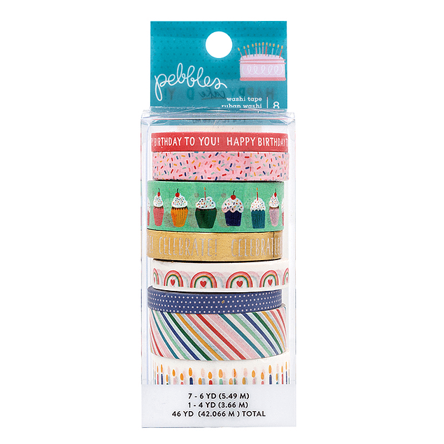 Pebbles - Happy Cake Day Collection - Washi Tape