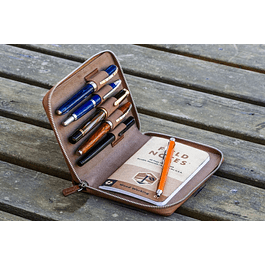 LEATHER ZIPPERED 5 SLOTS PEN CASE - CHOCOLATE BROWN