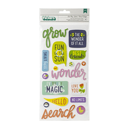 American Crafts Shimelle Never Grow Up - Thickers Stickers 31 Pack - Lets Go Phrase/Puffy