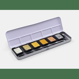 """6 colores perlados """"tonos antiguos"""" en una caja con tapa de metal"""