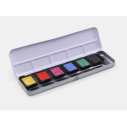 """6 colores nacarados """"High Chroma"""" en una caja con tapa de metal"""