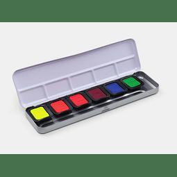 6 acuarelas transparentes de neón en una caja con tapa de metal