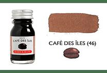 Tinta caligráfica, frasco de 10 ml. café des iles