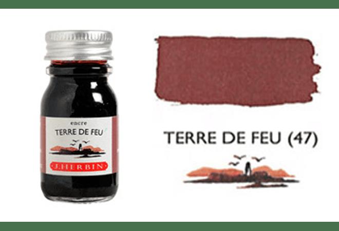 Tinta caligráfica, frasco de 10 ml. terre de feu