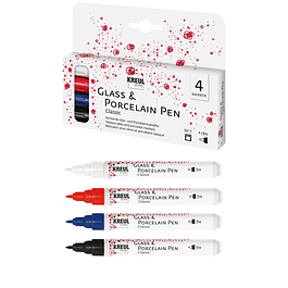 Set 4 Glass Porcelain Pen Classic - Punta Fina