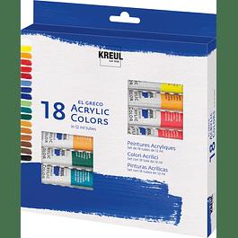 KREUL el Greco Set acrílico 18 x 12 ml tubos