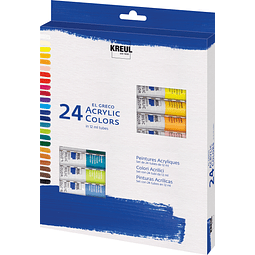 KREUL el Greco Set acrílico 24 tubos de 12 ml