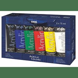 """Set 6 acrílicos """"El Greco"""" Colores Básicos - Tubos 75 ml"""