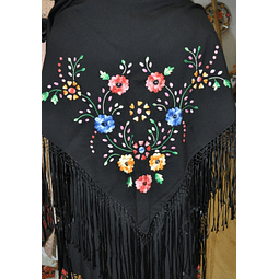 Hand embroidered shawls in black/color