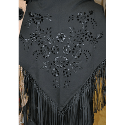 Hand embroidered Shawl black/black