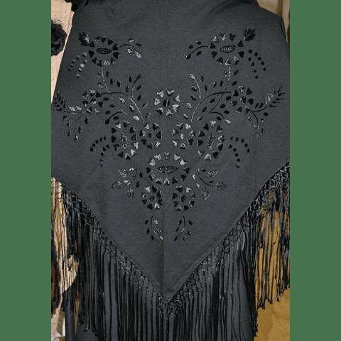 Hand embroidered Shawl black/black