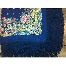 Meadela Scarf with fringe in dark blue