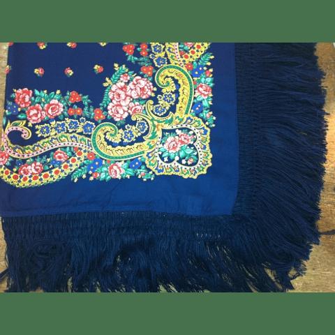 Meadela Scarf with fringe in dark blue