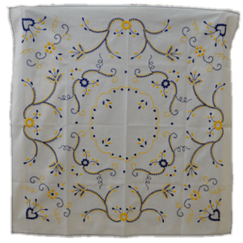 100x100cm tablecloth in white/yellow