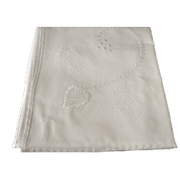 200cm. round tablecloth in white/white