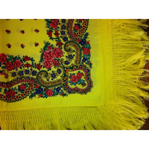 Minhoto Scarf with fringe in Yellow