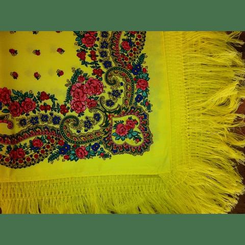Lenço Minhoto com franja (Amarelo)