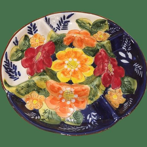 Prato aperitivos grande flores cor