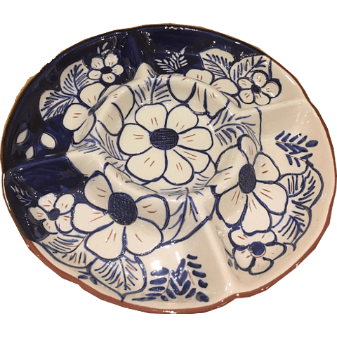 Large appentizer plate with flowers in blue