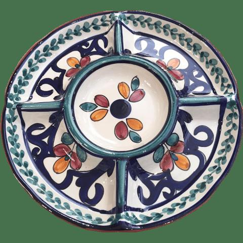 Prato aperitivos grande Verde-Azul