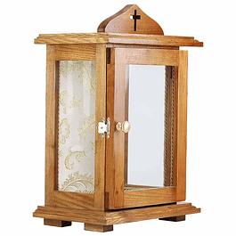 Oratório em madeira com vidro