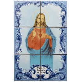 Azulejo Coração Sagrado de Jesus 6 peças