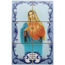 Azulejo Coração Sagrado de Maria 6 peças