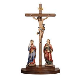 Estátua de grupo de crucificação - madeira