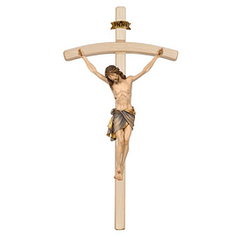 Crucifixo Cristo de Siena  cruz curva - madeira