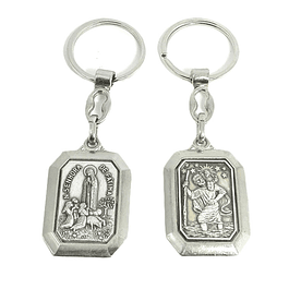 Keychain of Saint Christopher and Our Lady of Fatima