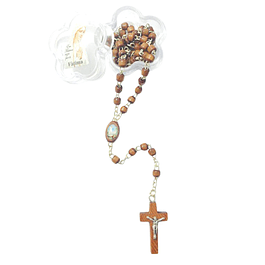 Wood brown rosary with clasp