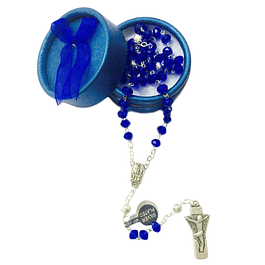 Terço de cristal azul