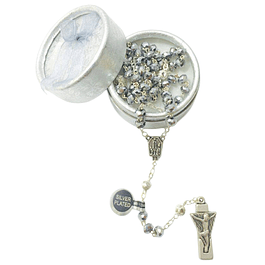Crystal silver rosary